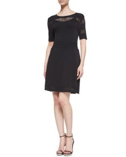 Womens Fit and Flare Scoop Neck Knit Dress   Ali Ro   Black (MEDIUM)