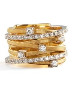 Goa Seven Row Mixed Gold Diamond Ring   Marco Bicego   Gold (7)