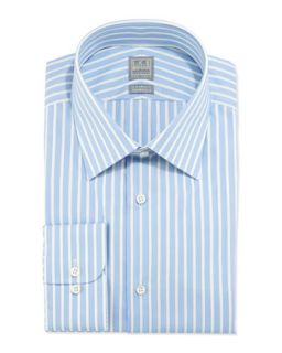 Mens Striped Cotton Shirt, Blue Ice   Ike Behar   Blue (17L)