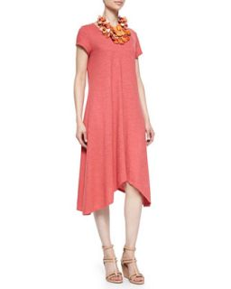 Womens Short Sleeve Handkerchief Jersey Dress, Petite   Eileen Fisher   Sunset