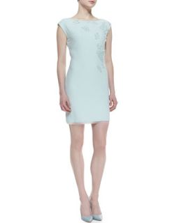 Womens Logan Cap Sleeve Applique Dress   Elie Tahari   Soft sky (MEDIUM)