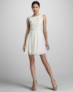 Womens Pleated Fit and Flare Dress   Erin by Erin Fetherston   White/Ecru (10)