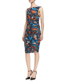 Womens Printed Sleeveless Ruched Jersey Dress   Catherine Malandrino   Sky