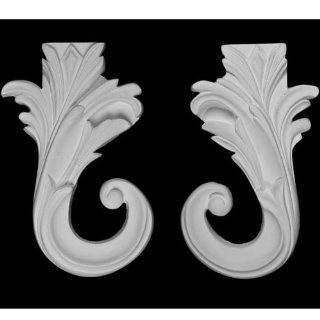 """Plaster Corner Molding (Item # A70518rl) Hand Carved & Sculpted From Plaster with Its Decorative Architectural Design, 6 3/4"""" Long X 5 1/2"""" Wide and 3/4"""" Projection/thickness   Wood Moldings And Trims"""