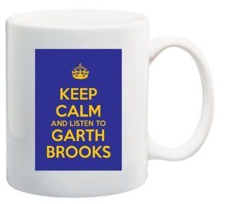 Keep Calm and Listen to Garth Brooks   11 Oz Coffee Mug Blue and Yellow Album CD   Nice Motivational And Inspirational Office Gift: Kitchen & Dining