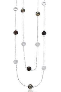 Marco Bicego Inspired Matte Round Smokey Quartz Gem 36 Inch Rhodium Plated Sterling Silver Necklace (Nice Gift, Special Sale): Jewels Lovers: Jewelry