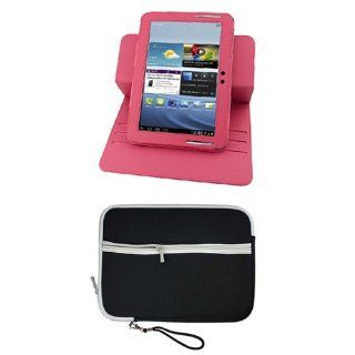 BIRUGEAR Hot Pink 360 Degrees Rotating Leather Stand Cover Case with Neoprene Storage Carrying Case for Samsung Galaxy Note 10.1 Inch Tablet N8000/ N8010/ N8013 Computers & Accessories
