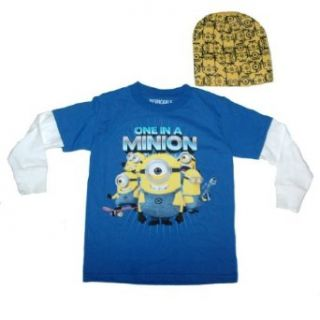 Despicable Me 2   Long Sleeve with Hat Minion Tee   Size 10/12 Blue: Clothing
