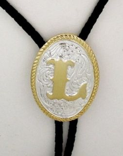 "Silver/Gold Plated Monogram Letter ""L"" Bolo Tie: Clothing"