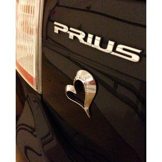 3D Rhinestone Encrusted Metal Car Trunk Emblem   Crystal Silver Forever Love Heart: Automotive