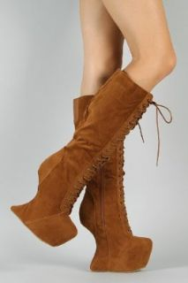 Vintage Goddess 08 Heel Less Laced Knee High Boots TAN (FREE SHIPPING on all add'l items) (7): Shoes