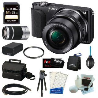 Sony Alpha NEX 3NLB NEX3NL NEX 3N 16.1MP Mirrorless Digital Camera with 16 50mm Lens and 3 inch Tiltable LCD (Black) + Sony 32GB Class 10 Memory Card + Sony SEL5510 55 210mm f/4.5 6.3 Telephoto Lens + Accessory Kit : Digital Slr Camera Bundles : Camera &am