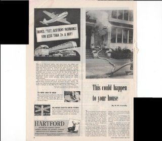 Hartford Insurance Company Travel Accident Insurance For Lest Than $.02 A Day 1948 Original Vintage Advertisement : Prints : Everything Else