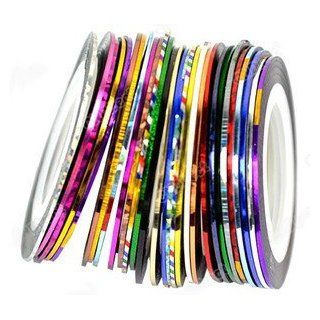 Nail Stripes Striping Tapes By Cheeky  Wonderful Nail Decoration Set Kit of 30 Nail Strips Nail Striping Tape in 30 Different Colors. Looks Amazing with Nail Rhinestones and Nail Fimo Decoration.  Nail Art Equipment  Beauty