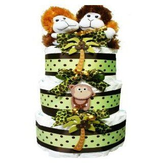 My Little Monkey New Baby Diaper Cake Gift Tower Nuetral for Boys, Girls or Twins : Baby Gift Baskets : Baby