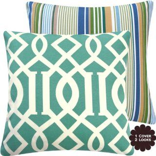 "Roman Numeral Collection   18"" Square Outdoor Patio Decorative Pillow Cover   Geometric Lattice and Stripes   Aqua Blue, Ivory, Off White, Cream   1 Cover, 2 Looks  Patio Furniture Pillows  Patio, Lawn & Garden"