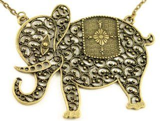 Vintage Look Gold Tone Elephant Necklace Jewelry