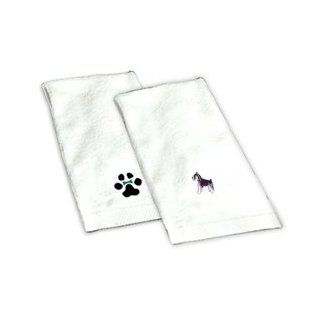 Our Schnauzer white hand towel is 100% cotton and measures 16X26. It is directly embroidered with your Schnauzer image. This is a unique gift idea for your dog loving friend or family member. This towel makes a perfect addition to any bathroom and shows yo