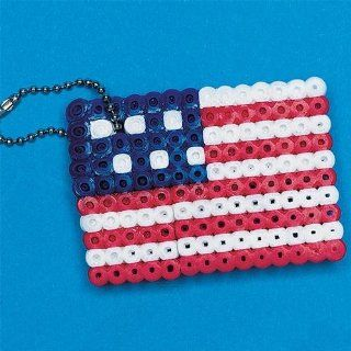 S&S Worldwide Fuse Bead American Flag Craft Kit (Makes 12): Toys & Games