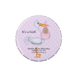 Stork and Ethnic Baby Girl Jelly Belly Tin