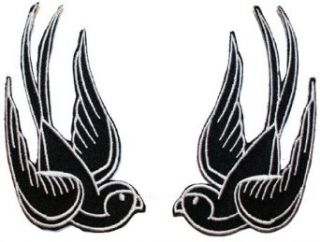 Black Tattoo Sparrow Swallow Emo Punk Embroidered iron on Motorcycle Biker Patch BIG: Clothing