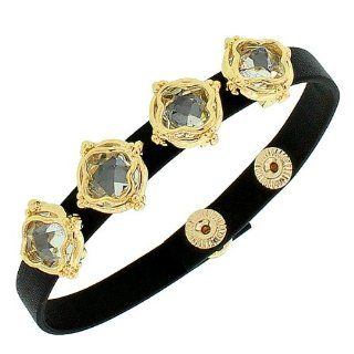 Black Leather Yellow Gold Tone White Crystals CZ Wristband Womens Adjustable Bracelet with Clasp My Daily Styles Jewelry