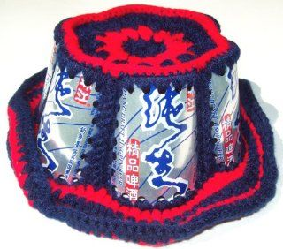 CHINESE CROCHETED JINGPIN ZHUJIANG CROCHET BEER CAN HAT BEACH BLEACHER BUM CAP: Toys & Games