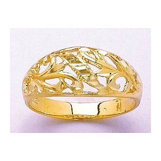 Gold Ring Paisley D C Design Cut out Dome: Jewelry