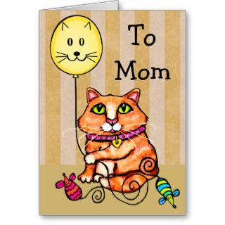 Mother's Day Greeting Card For Cat Loving Moms