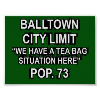 Balltown Iowa Funny City Limit Sign Poster