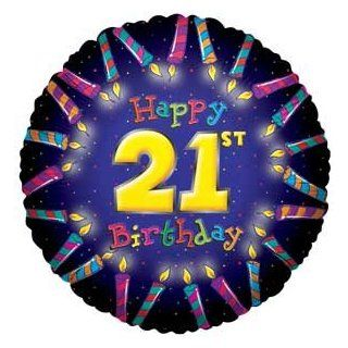 "Single Source Party Supplies   18"" Happy 21st Birthday Mylar Foil Balloon: Toys & Games"