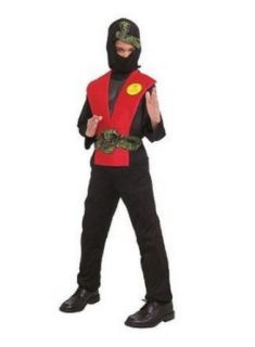 Deluxe Muscle Ninja Red Dress Up Halloween Costume   Size Child One Size Fits Most: Clothing
