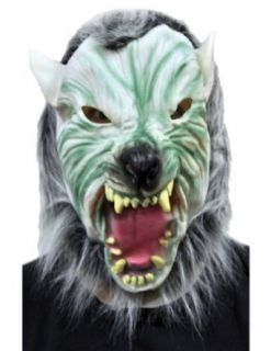 Scary Masks Silver Wolf With Hair Mask Halloween Costume   Most Adults: Clothing