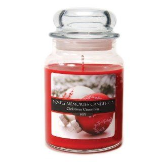 Mostly Memories Christmas Cinnamon 24 Ounce Lid Lites Soy Candle   Jar Candles