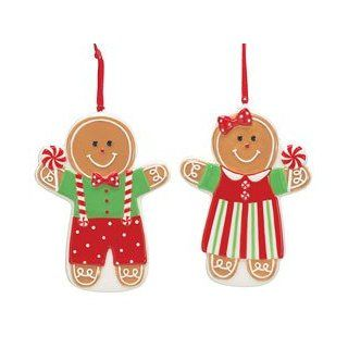 Mr & Mrs Gingerbread Man Christmas Tree Ornaments Adorable Holiday Decor   Decorative Hanging Ornaments