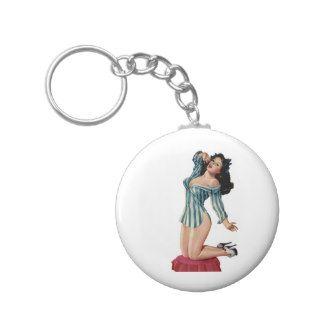 Beautiful Brunette Pin Up Girl ~ Retro Art Key Chain