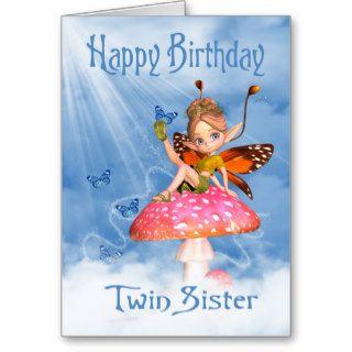 Twin Sister Birthday Card   Cute Fairy On A Mushro
