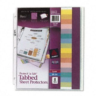 Avery Products   Avery   Protect 'n Tab Top Load Clear Sheet Protectors w/Eight Tabs, Letter   Sold As 1 Set   A sheet protector and index all in one.   Print on tabs with laser printers, inkjet printers, or typewriters.   Specially formulated nonstick