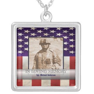 In Loving Memory Military Photo Personalized Necklace