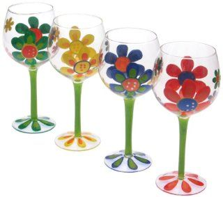Certified International Modern Garden 18 Ounce Hand Painted Wine Glasses, Set of 4 Assorted Designs Kitchen & Dining