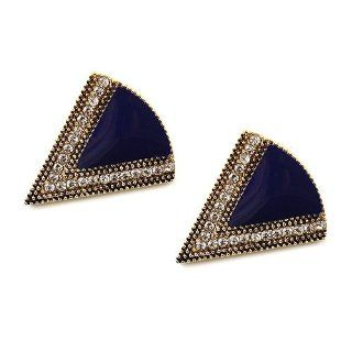"Epoxy Statement Studs; 1.5""L; Antique Gold Tone Metal; Dark Blue Enamel; Clear Rhinestones; Post; Jewelry"