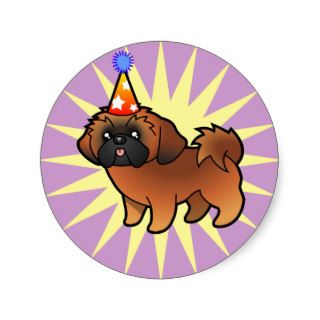 Birthday Shih Tzu (red puppy cut) Stickers