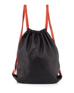 Drawstring Glove Deerskin Gym Sack, Black   Alexander Wang