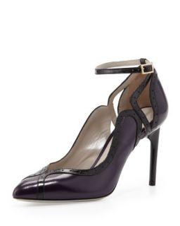 Brogue Trim Ankle Wrap Pump, Violet/Black   Jason Wu   Violet/Black (37.5B/7.5B)