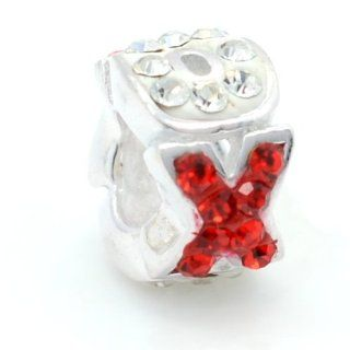 """Pro Jewelry .925 Sterling Silver """"Crystal XOXO Hugs Kisses"""" Charm Bead for Snake Chain Charm Bracelets 2358: Jewelry"""