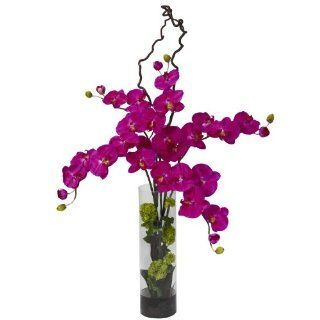 Nearly Natural 1288 OR Giant Phalaenopsis and Hydrangea Silk Flower Arrangement, Orchid   Artificial Mixed Flower Arrangements