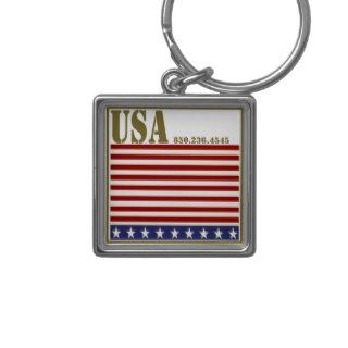Custom USA Stars and Stripes key ring Key Chains
