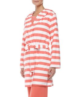 Womens Rugby Stripe Terry Robe, Coral   Splendid Intimates   Sugr coral rugby