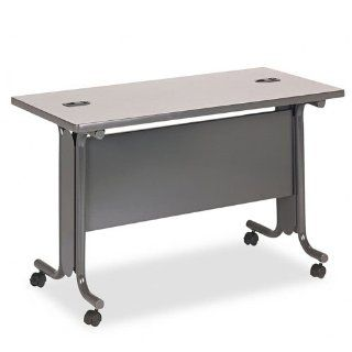 "HON Products   HON   61000 Series Interactive Training Table, Rectangular, 48w x 24d x 29 1/2h, Gray   Sold As 1 Each   Tables configure to meet your training room needs.   Tubular ""C"" legs contain a vertical wire management cavity with removable"