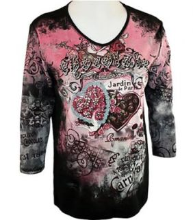 Cactus Bay Apparel Rhinestone Highlighted, Artistically Printed, 3/4 Sleeve, V neck, Black Colored, Cotton Woman's Fashion Top   Chocolate Sweetheart (Medium) at  Women�s Clothing store